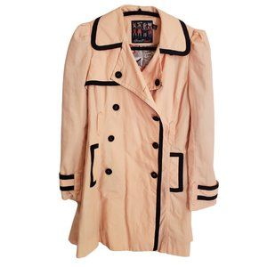 Forever 21 Twist Peach Pink/Black Trench Coat